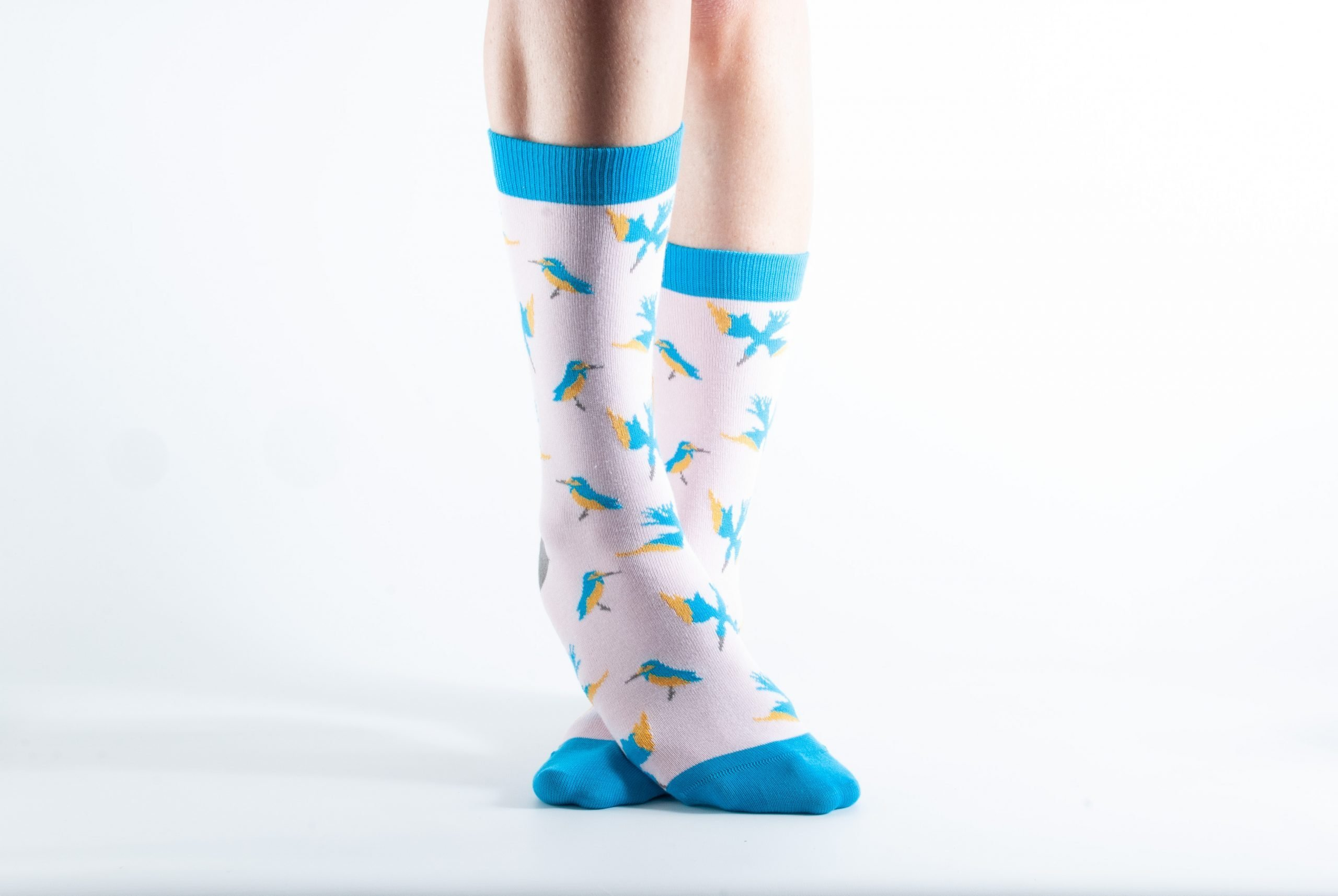 Womens Kingfisher bamboo socks - pink and blue