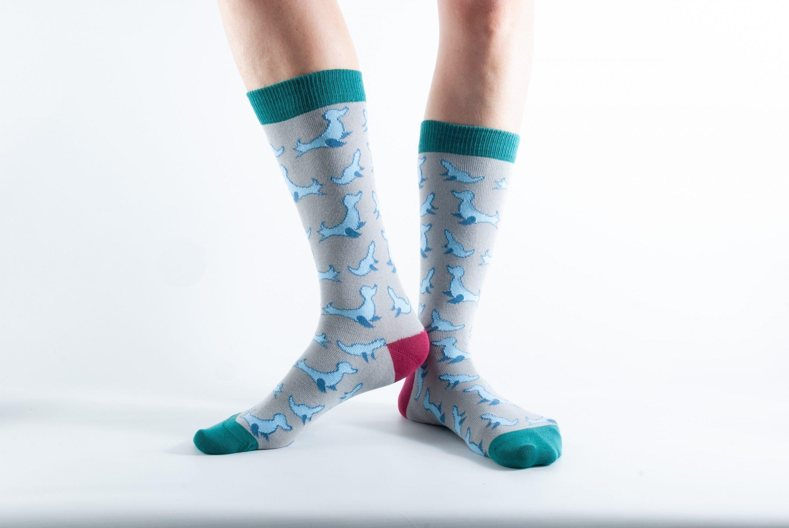 Womens Seal bamboo socks - blue and grey