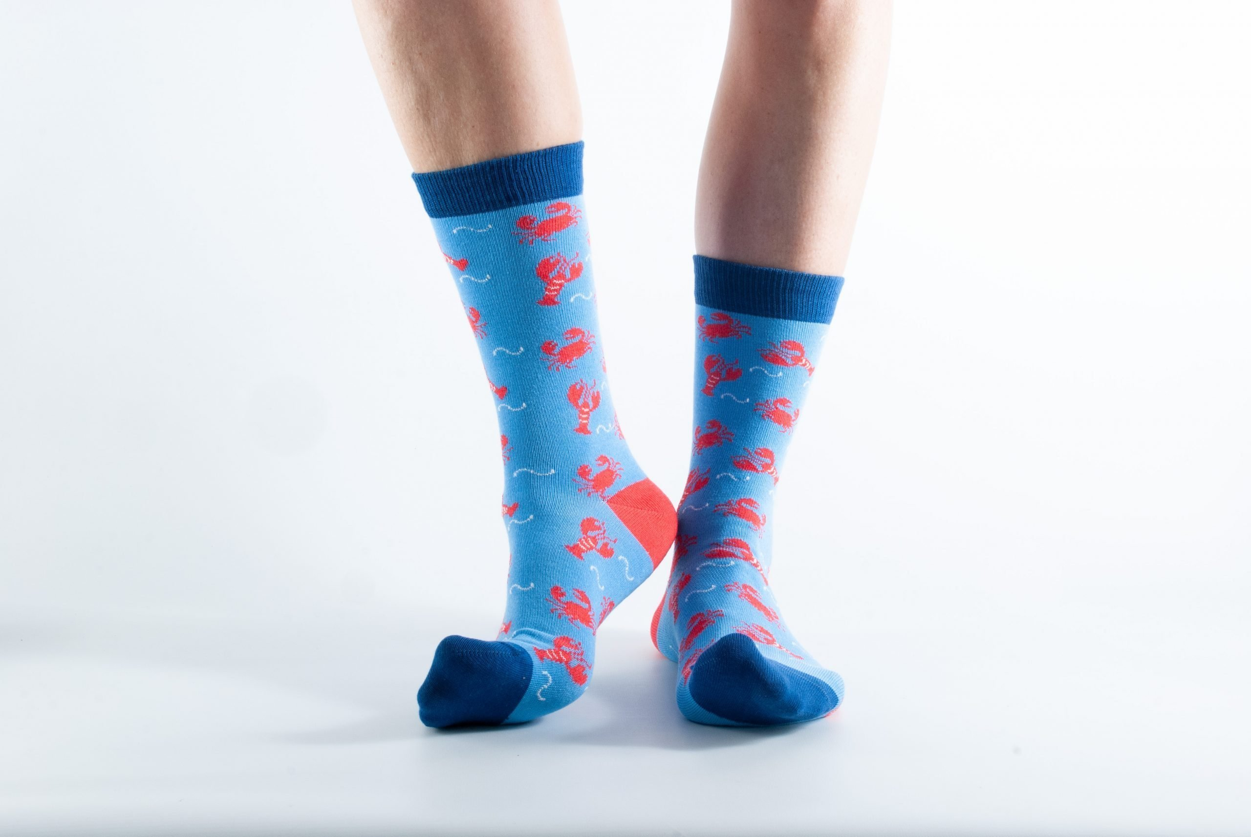 Womens Lobster bamboo socks - blue and dark blue
