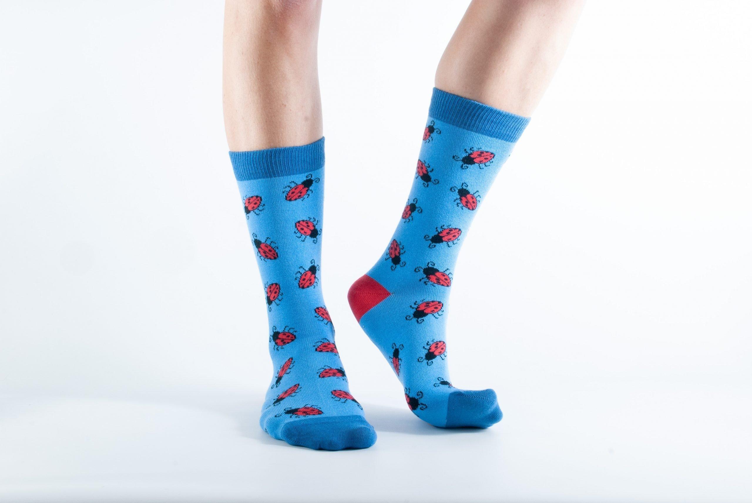 Womens Ladybird bamboo socks - blue and dark blue