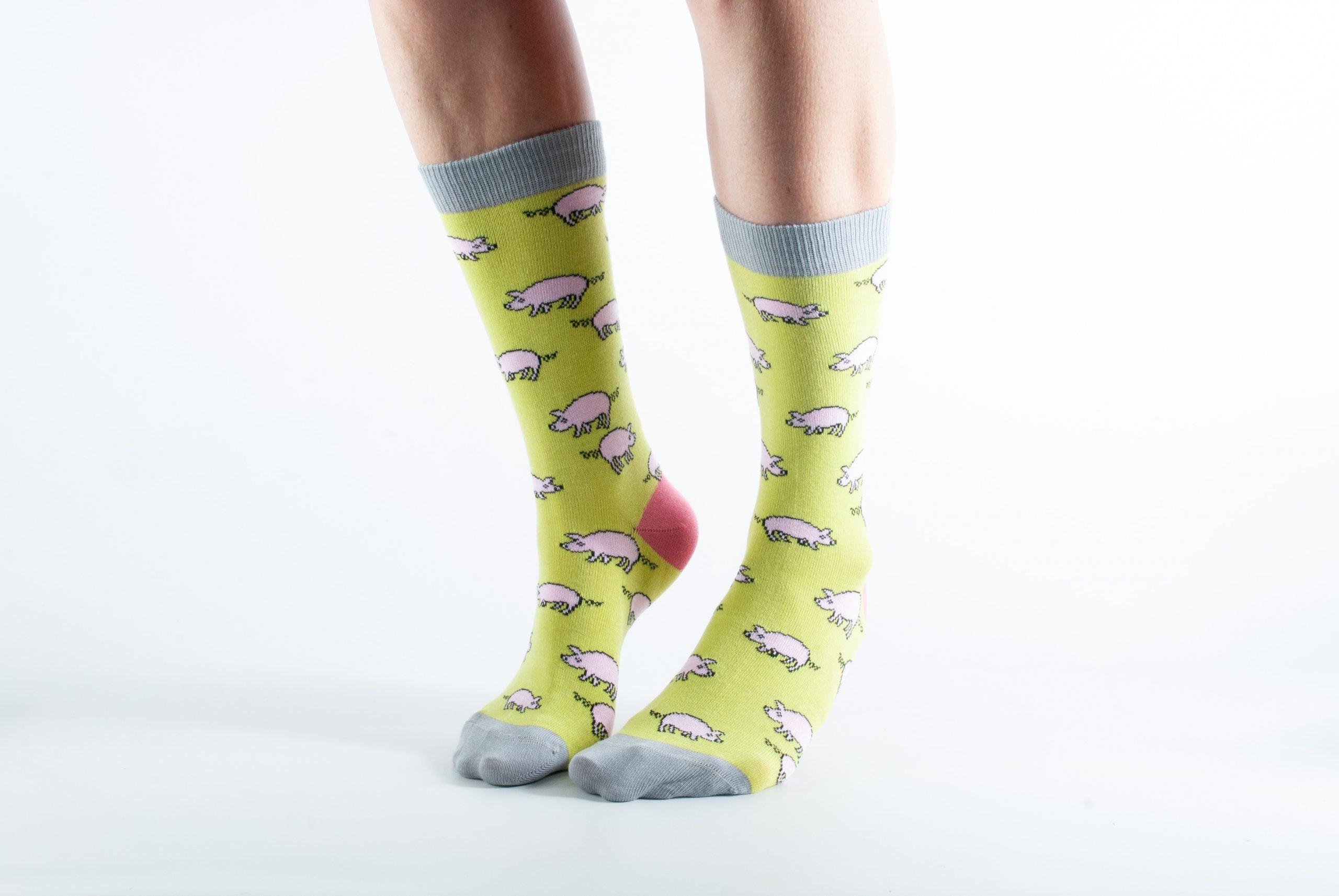 Womens Piggy bamboo socks - lime green and grey