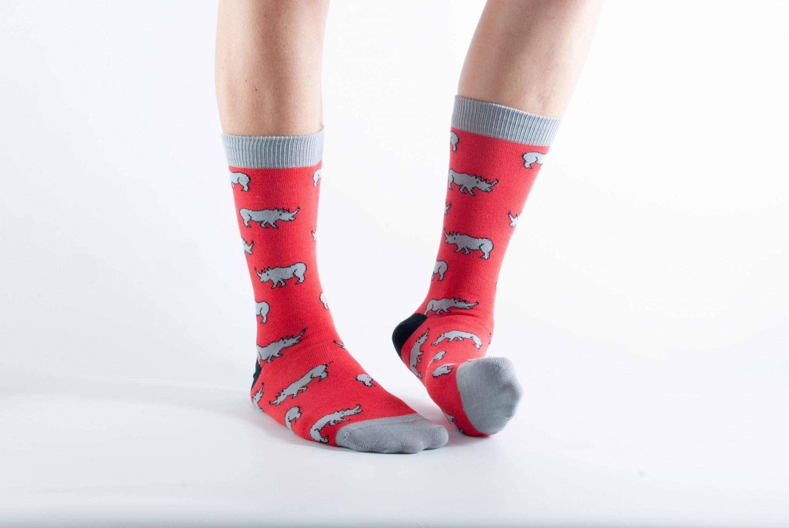 Womens Rhino bamboo socks - red and grey