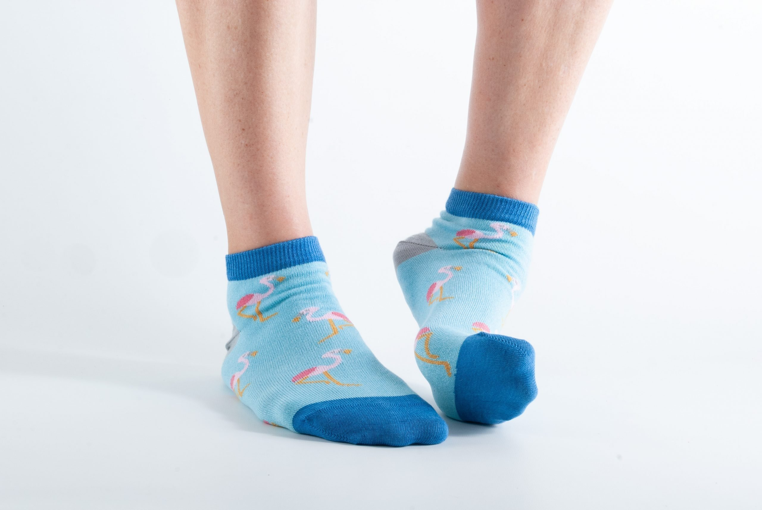 Womens ankle length Flamingo bamboo socks - mint and blue