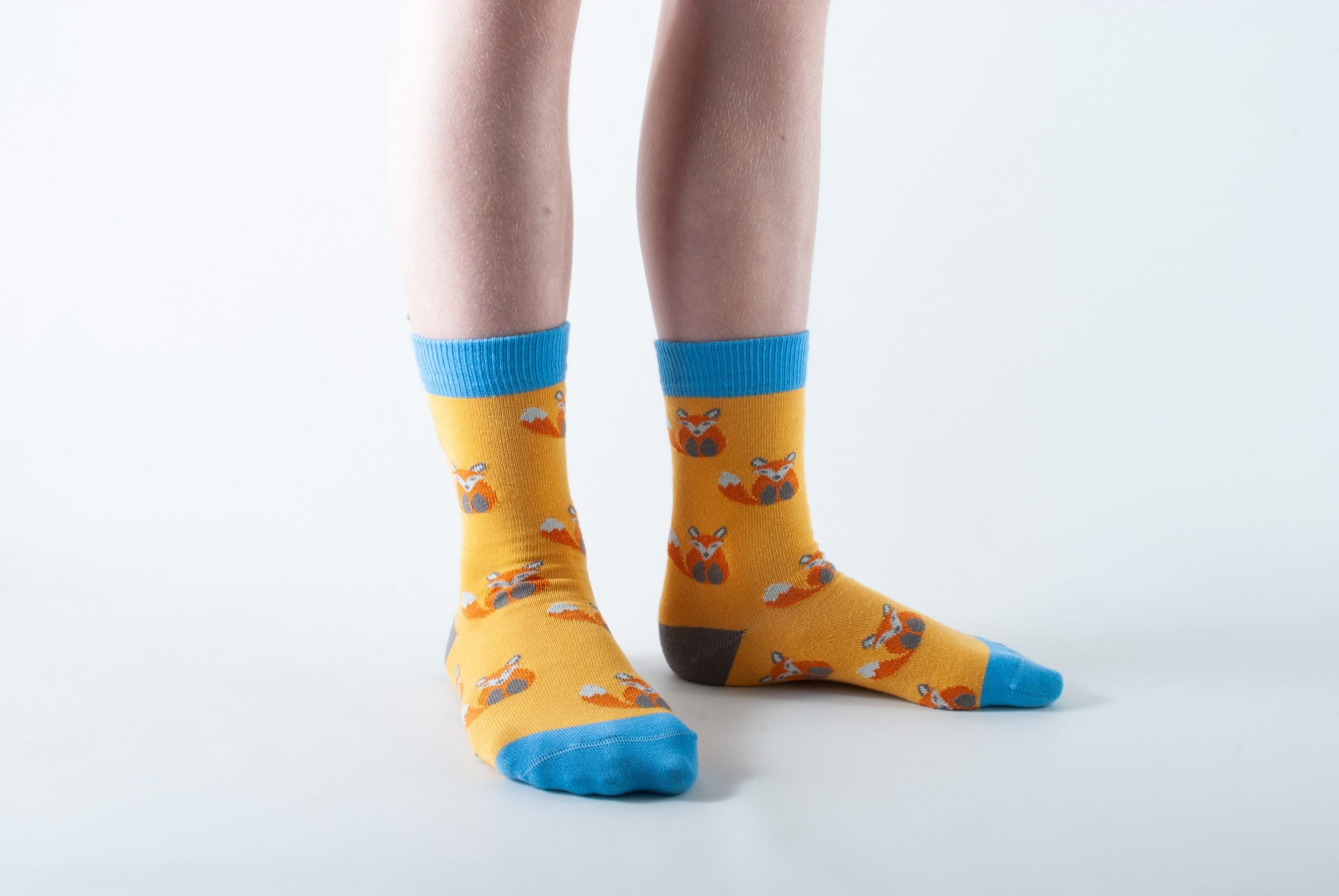 Kids Fox bamboo socks - yellow and blue