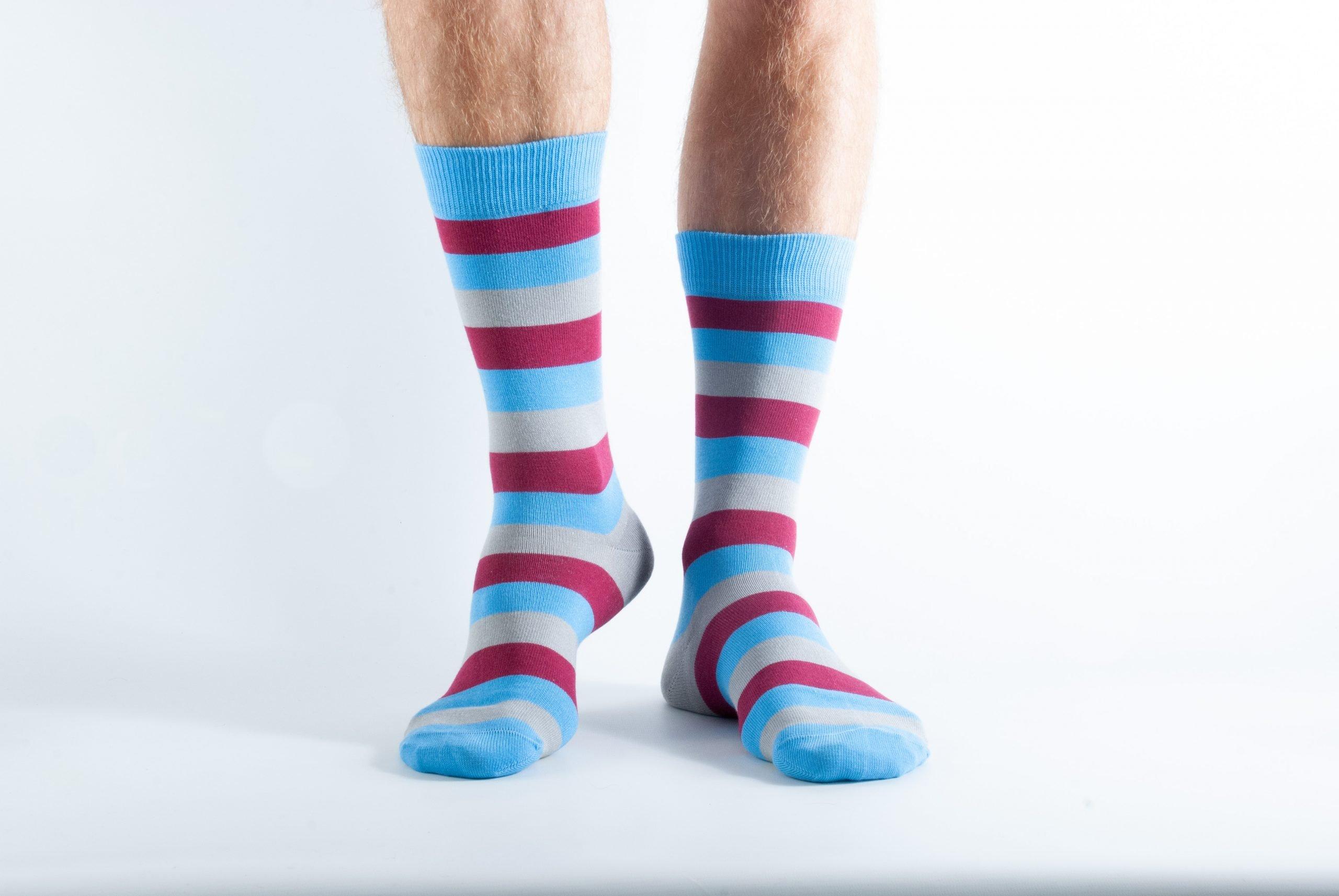 Mens Stripe bamboo socks - Grey, maroon and blue