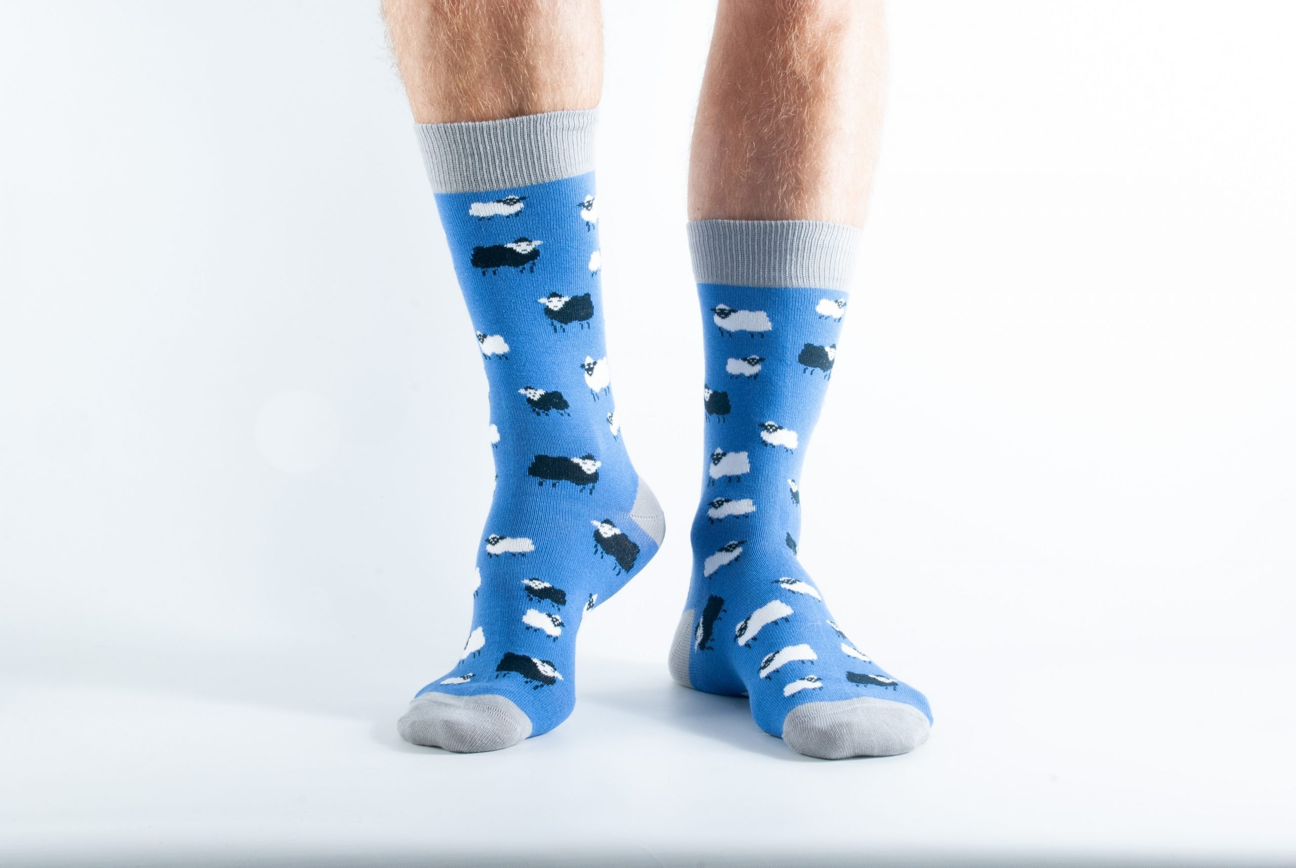 Mens Sheep bamboo socks - blue and grey