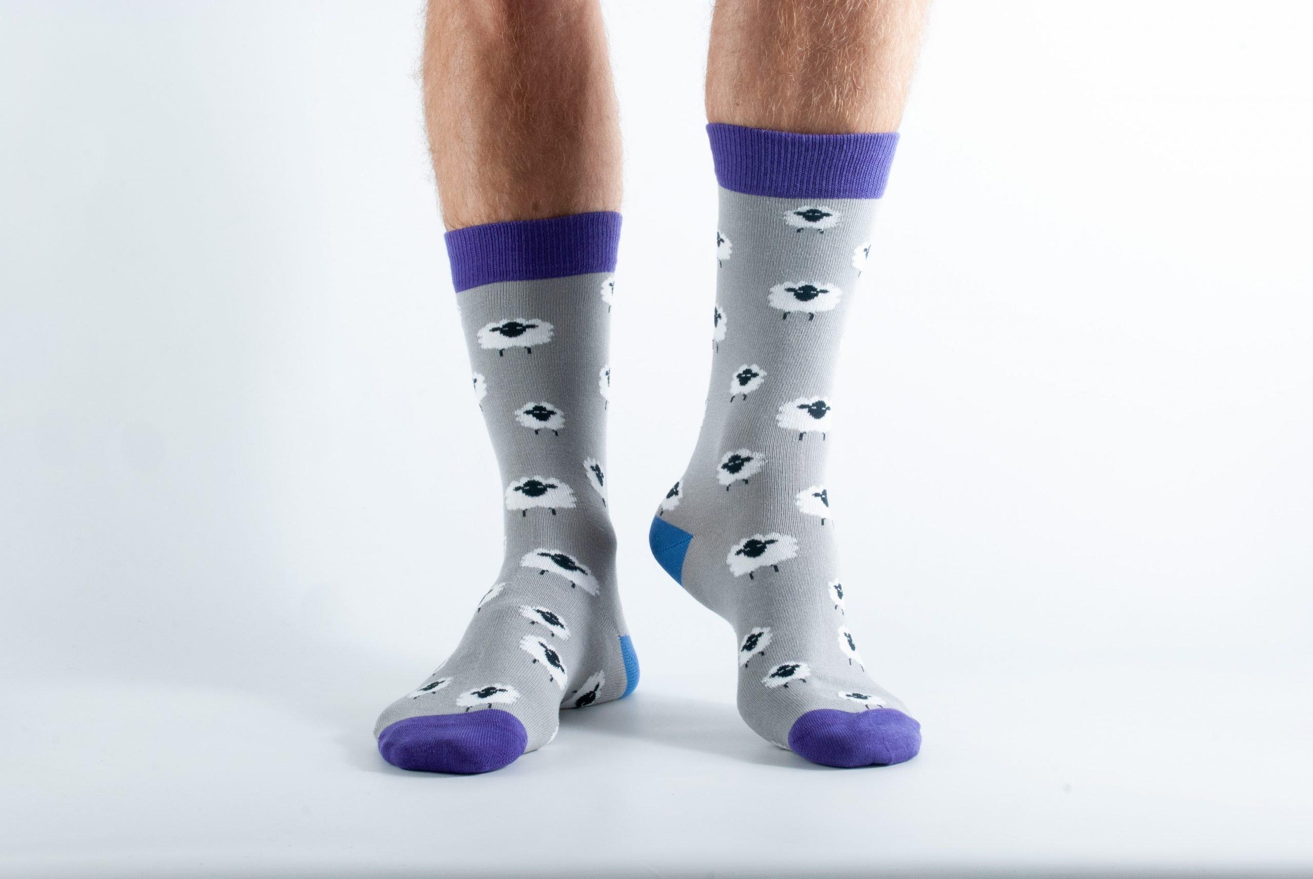 Mens Sheep bamboo socks - grey and purple