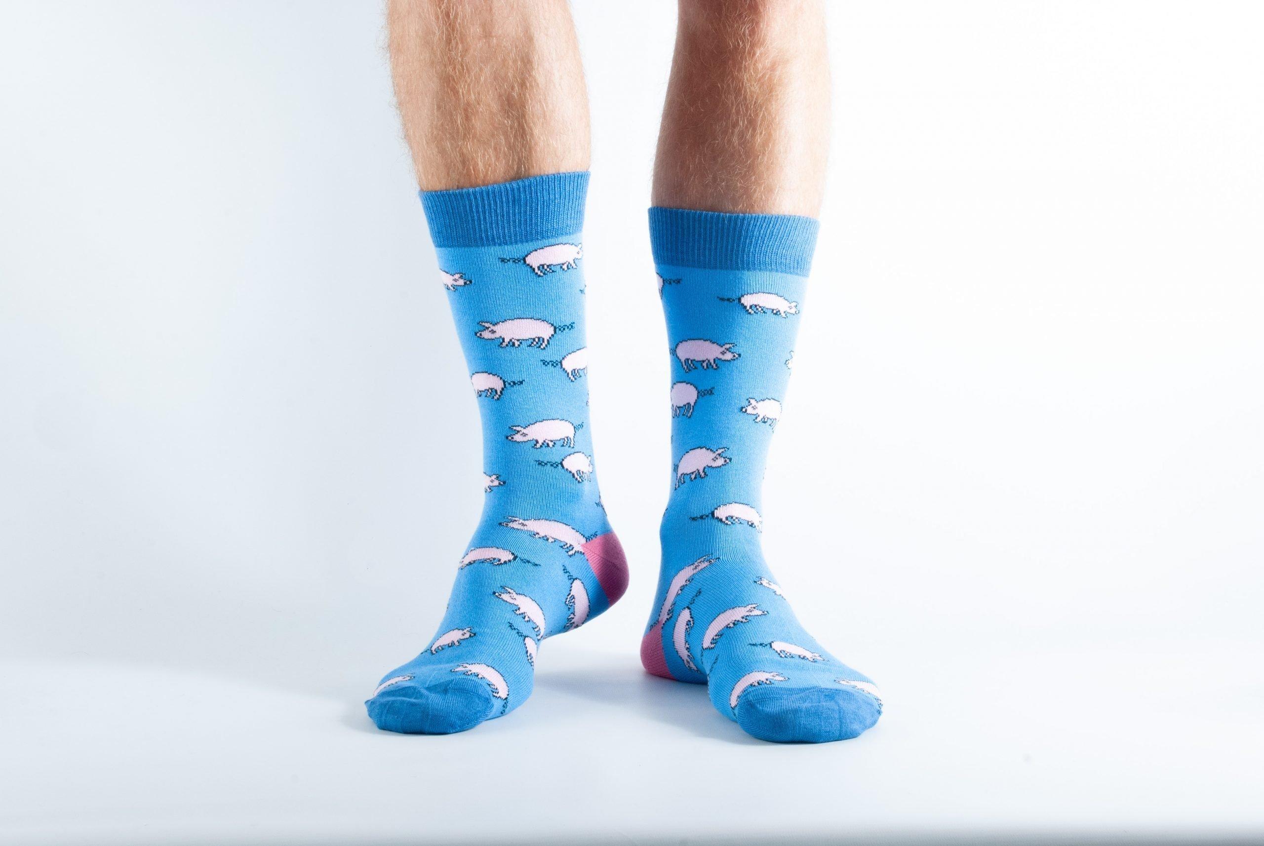 Mens Pig bamboo socks - blue and dark blue