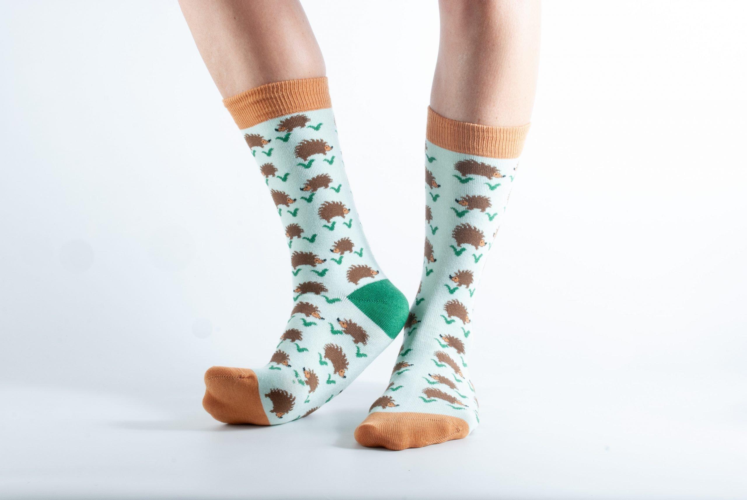 Womens Hedgehog bamboo socks - mint and brown