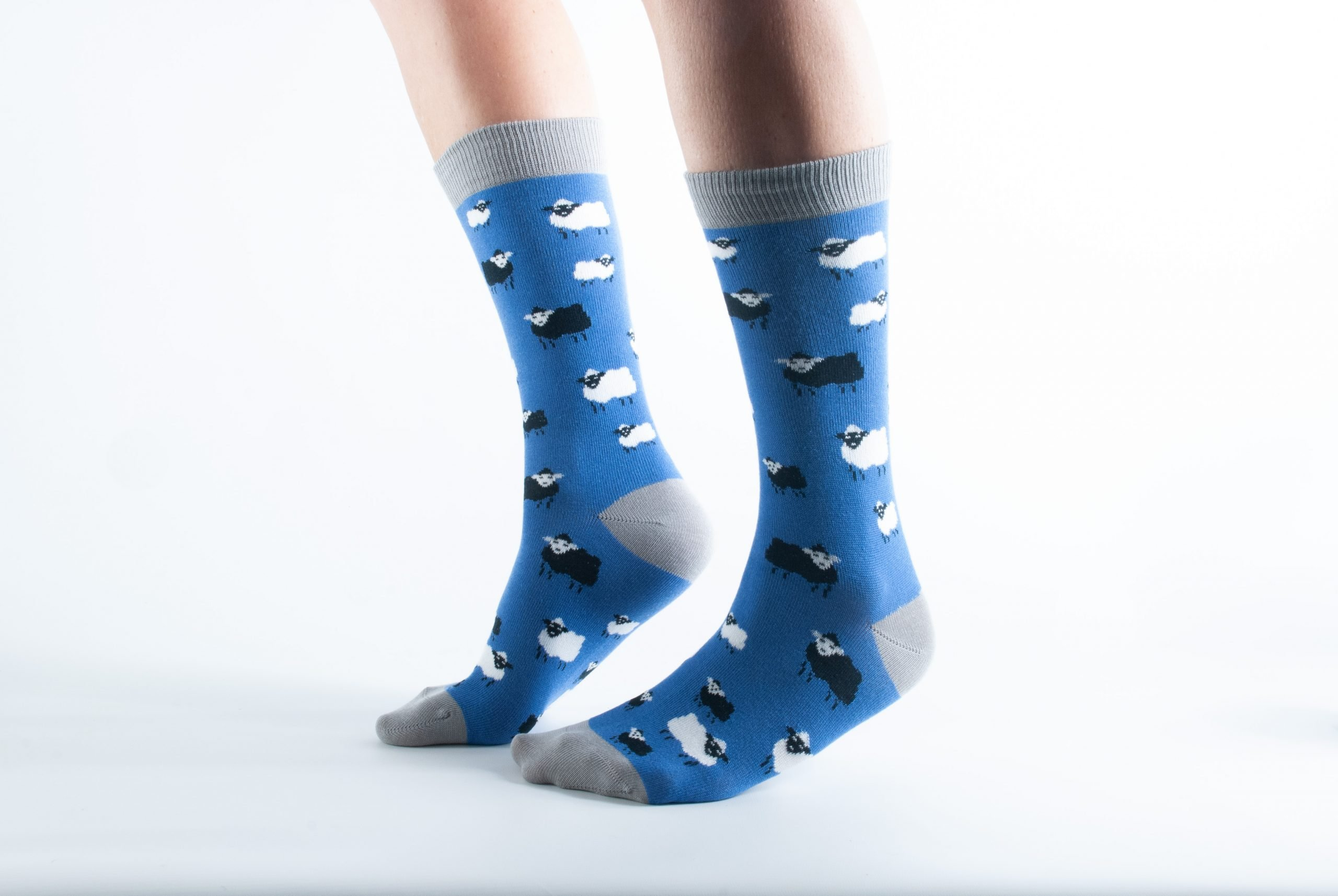 Womens Sheep bamboo socks - blue and grey