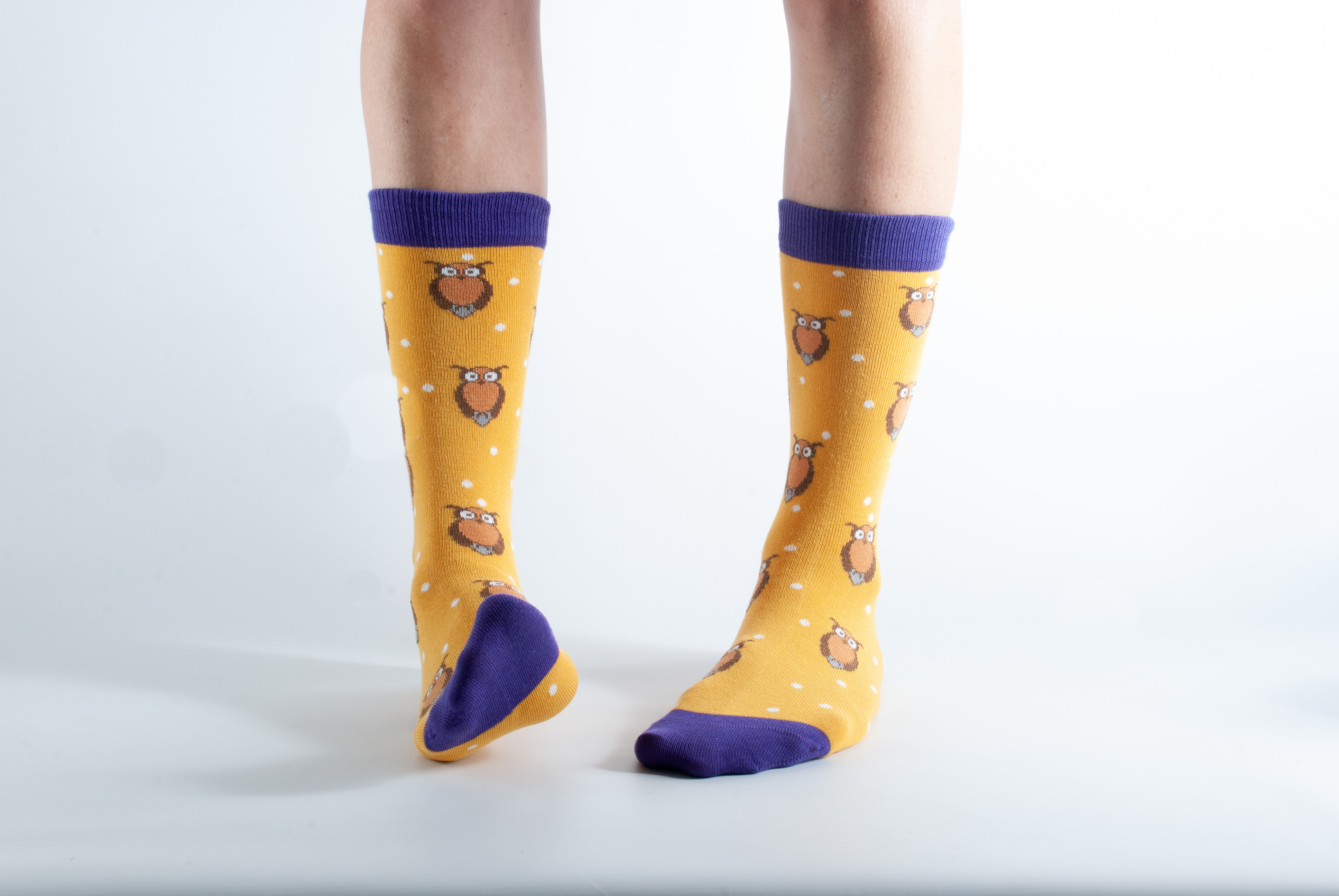 Womens Owl bamboo socks - yellow and purple