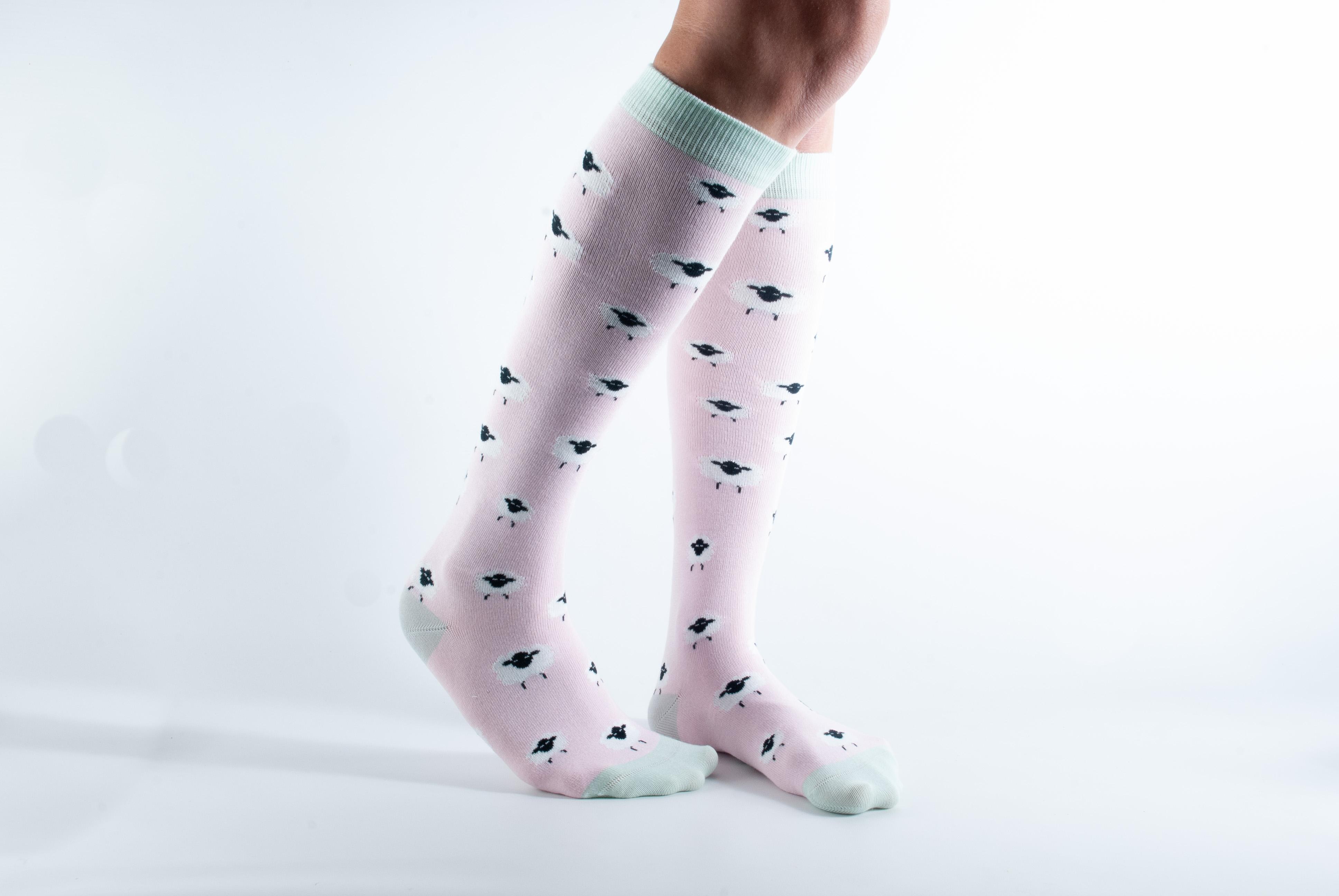 Womens Knee length sheep bamboo socks - pink and mint
