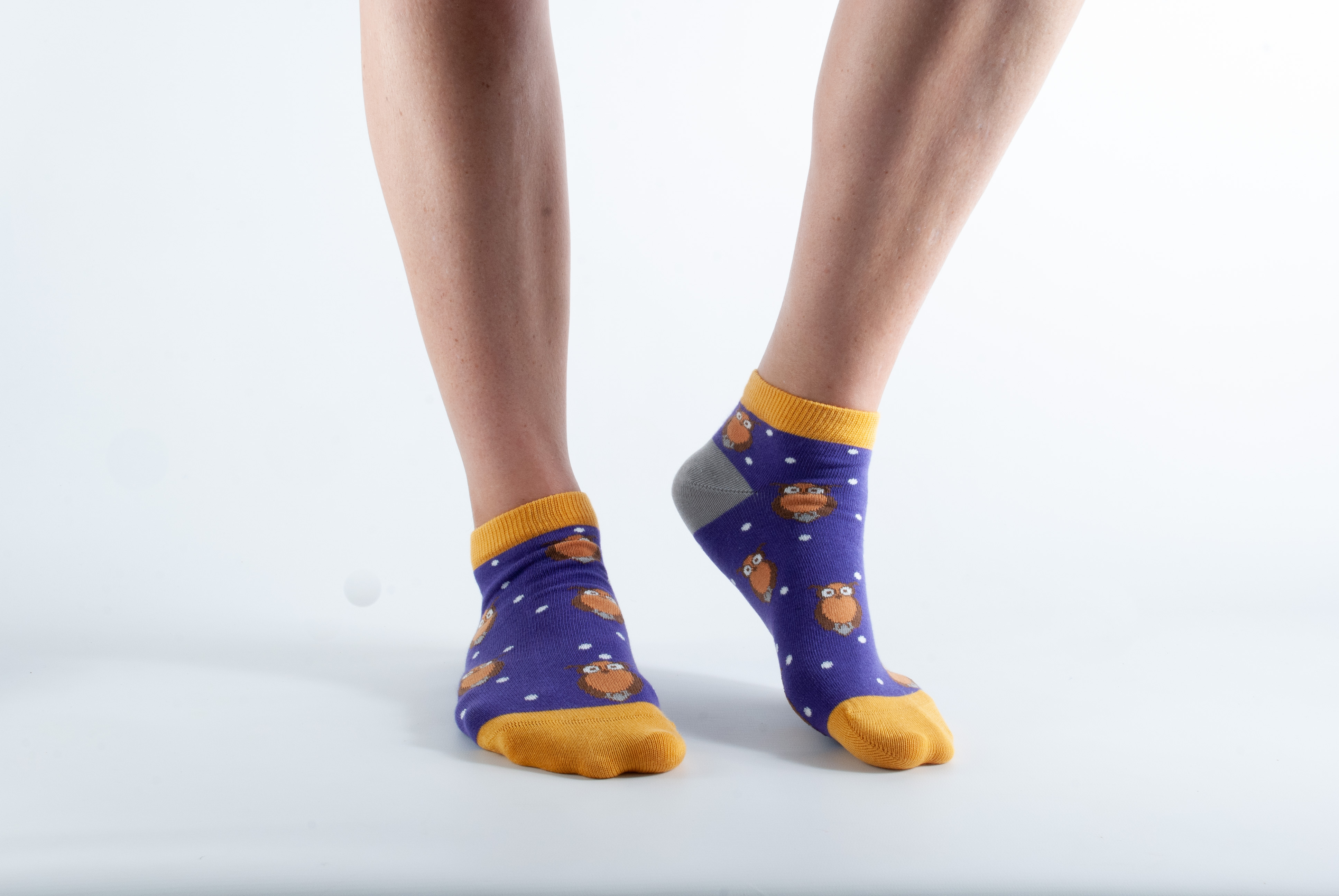Womens ankle length Owl socks - purple and yellow