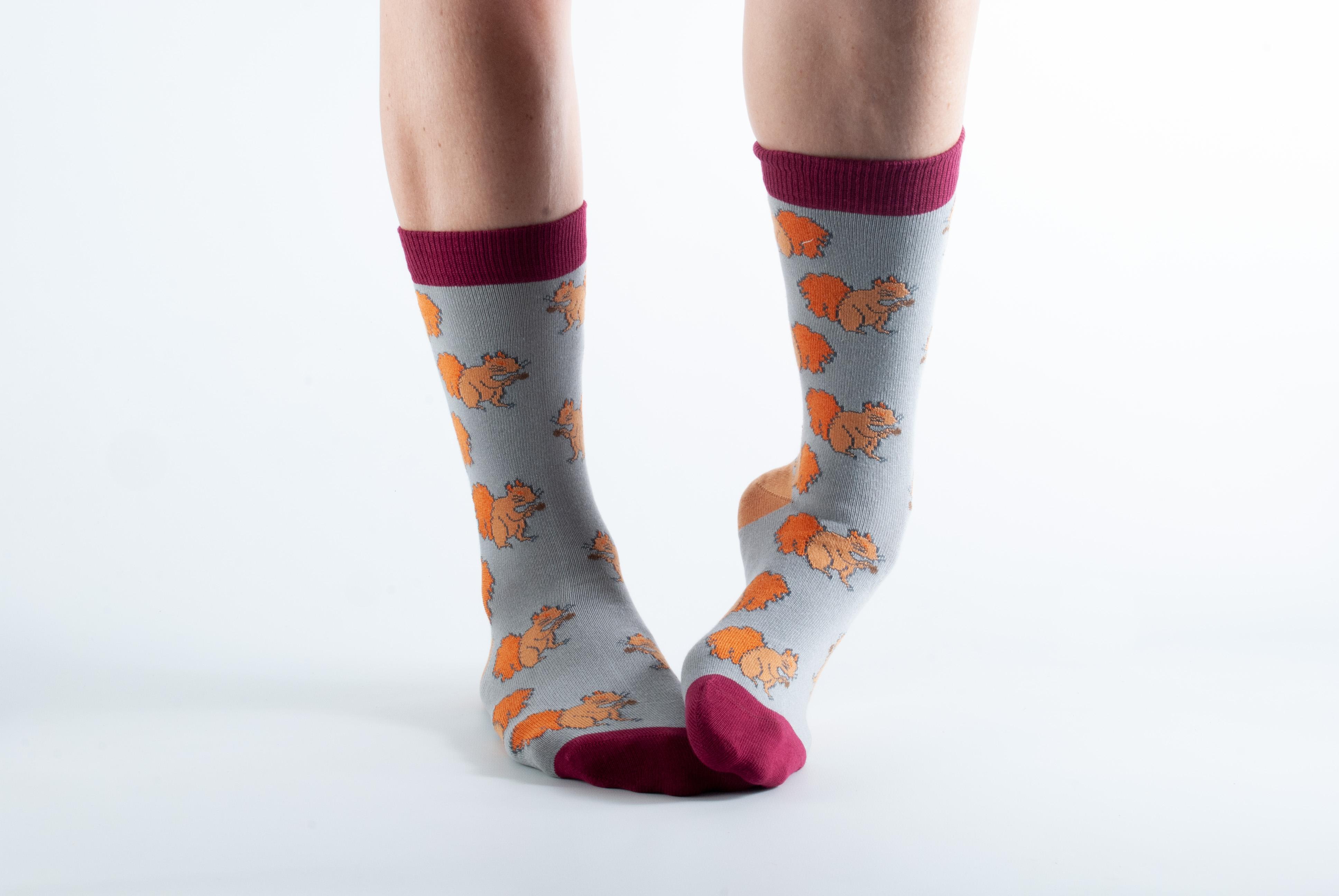 Womens Squirrel socks - grey, orange and claret