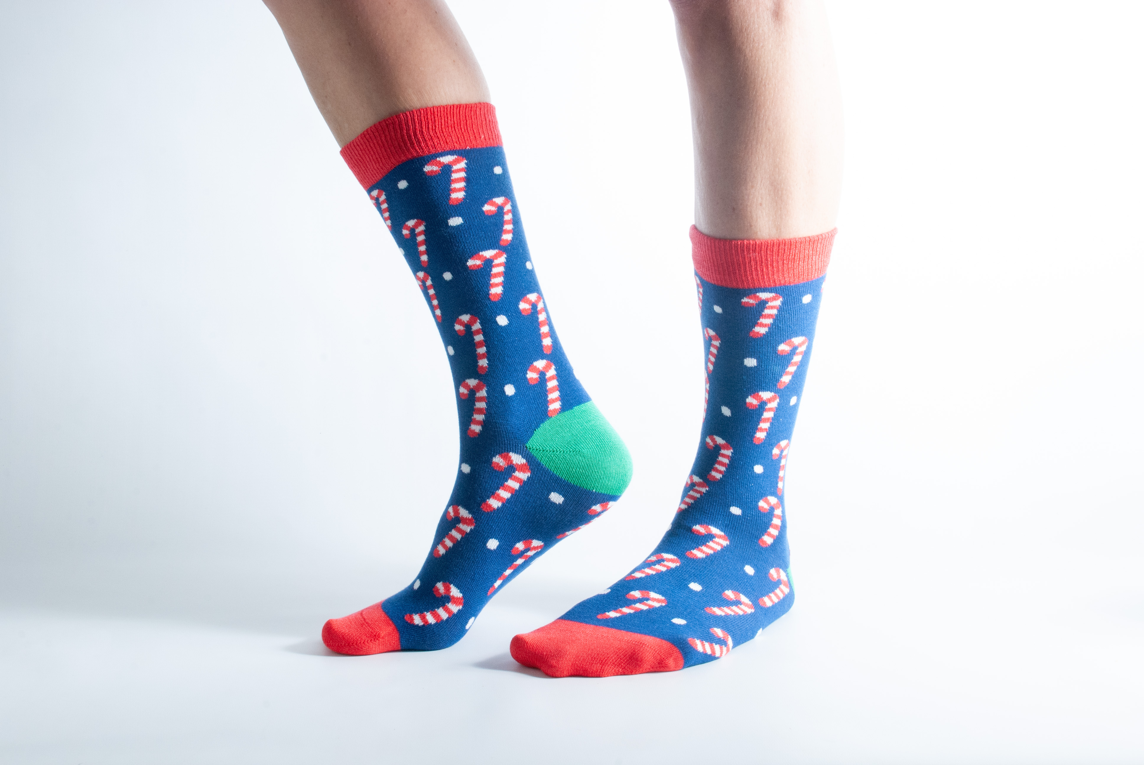 Womens Xmas Candy socks - red and blue